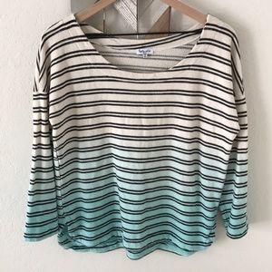 Splendid stripe turquoise and black ombré top